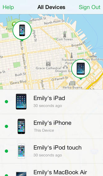 Przykładowe działanie usługi Znajdź mój telefon na urządzeniu z iOS / fot. apple.com