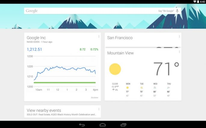 Google Launcher Now, źródło: play.google.com