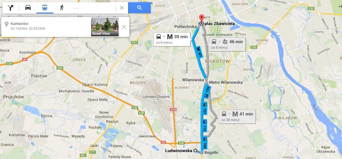 Google Transit, źródło: google.pl