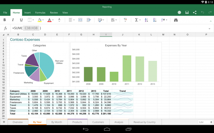 Excel dla Androida / fot. blogs.office.com/2014/11/06/bringing-office-everyone/