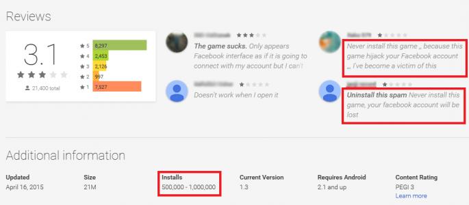 Ostrzegawcze komentarze użytkowników aplikacji