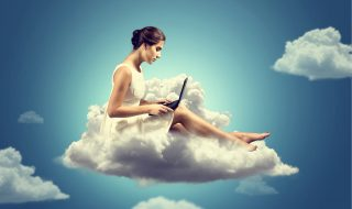 Woman working on a Cloud