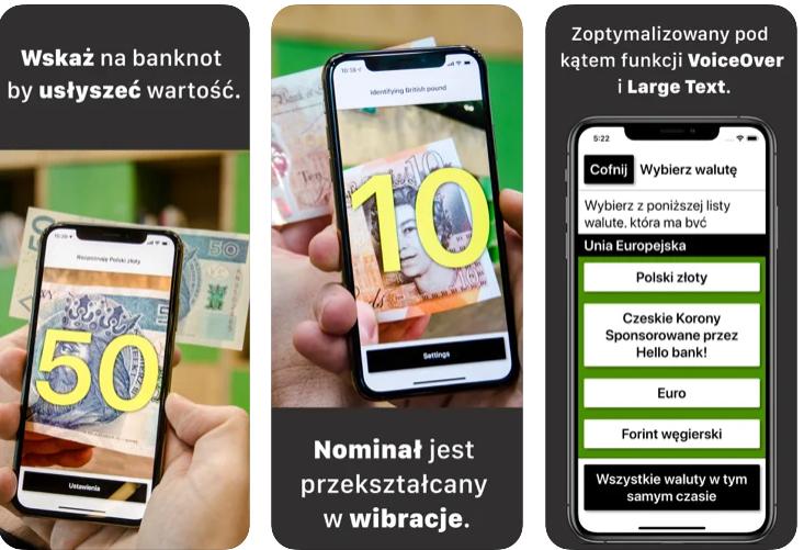 screen z aplikacji, zdjęcie banknotu o nominale 50 złotych