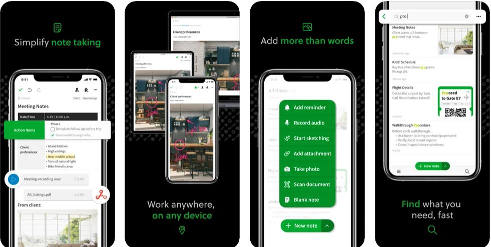 screen z aplikacji evernote, pokazujący możliwości aplikacji, w tym robienie notatek
