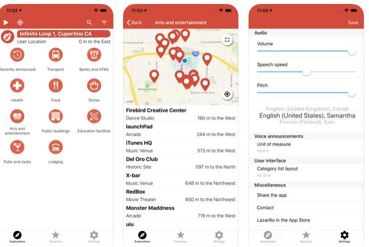 screen aplikacji lazarillo, gdzie pokazana jest mapa GPS