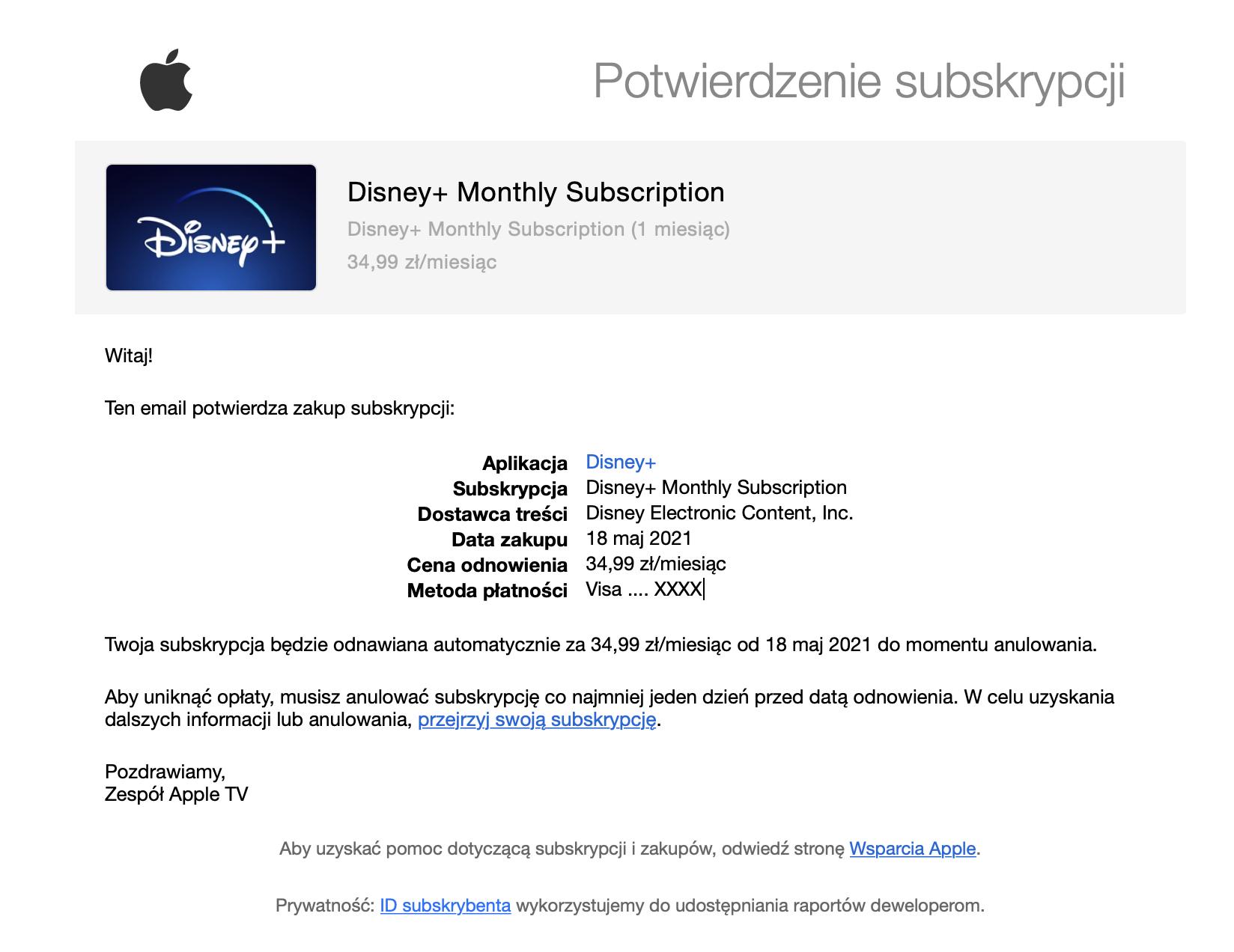 screen maila z informacją na temat kosztów abonamentu