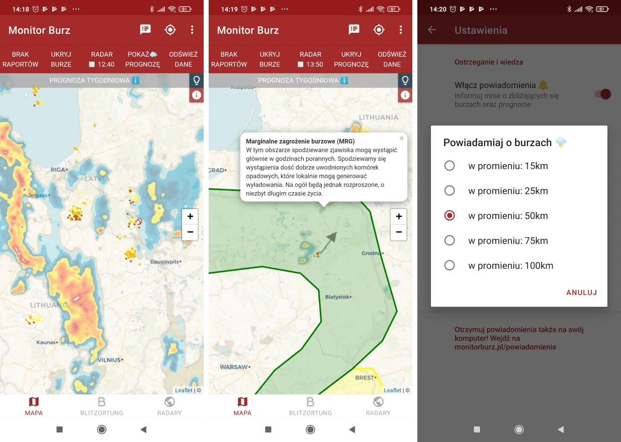widok z aplikacji Monitor Burz