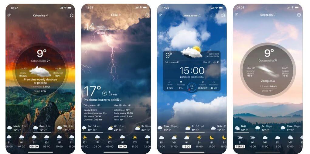 widok z aplikacji Pogoda na żywo