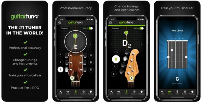Widok z aplikacji GuitarTuna