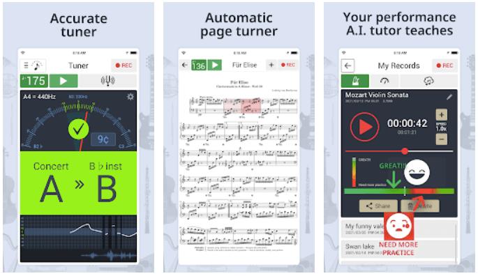 Widoki z aplikacji Stroik & Metronom
